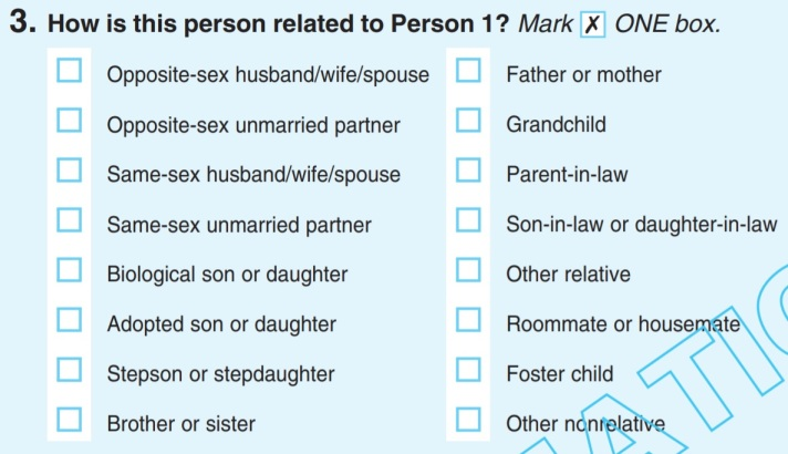 A question in the US 2020 census.